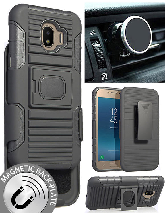 Black Case + Belt Clip + Magnetic Car Mount for Samsung Galaxy J2 Pro (2018)