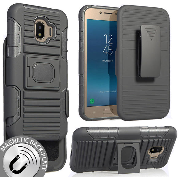 Black Grip Case + Belt Clip Holster Stand for Samsung Galaxy J2 Pro (2018)