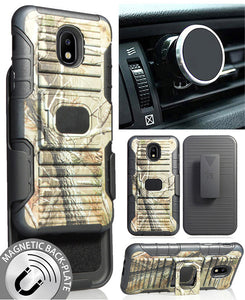 Camo Tree Real Woods Case + Clip + Magnet Car Mount for Galaxy J3 (2018) J337