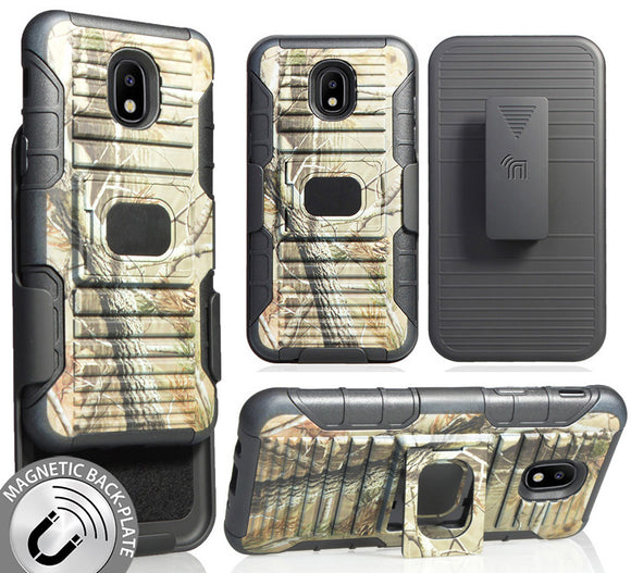 Camo Tree Woods Case + Belt Clip for Galaxy Express Prime 3, Amp Prime 3, Sol 3