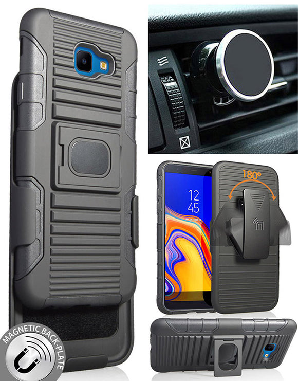 Black Rugged Case Stand Belt Clip Magnetic Car Mount for Samsung Galaxy J4 Core