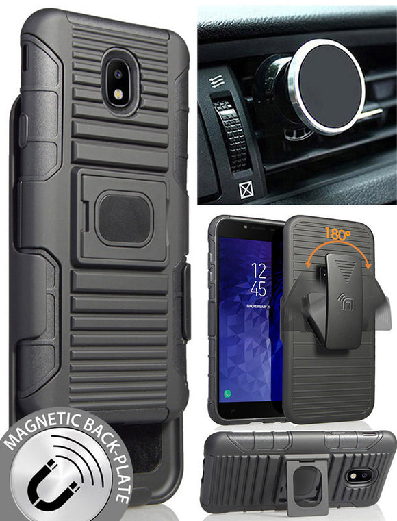 Black Case + Belt Clip + Magnetic Car Mount for Galaxy J7 Star/Refine/Aero 2018