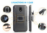 Black Magnet Grip Case Cover + Belt Clip for Galaxy J7 Star/Refine/Aero 2018