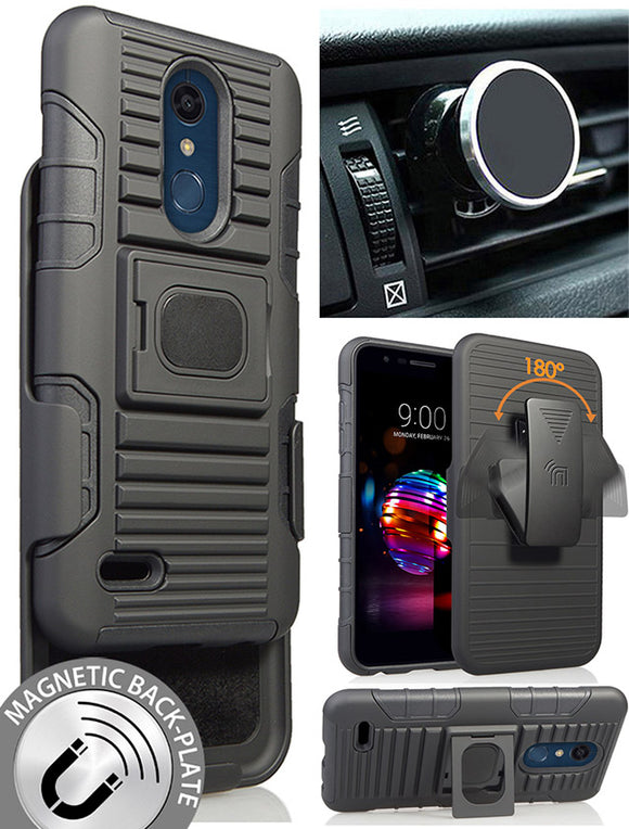 Black Case Clip Magnetic Mount for LG K30, Phoenix Plus, Premier Pro, Harmony 2