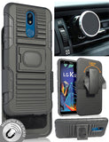 Black Rugged Case + Belt Clip with Magnetic Car Mount for LG Xpression Plus 2