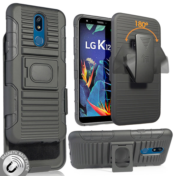 Black Rugged Grip Case with Stand and Belt Clip Holster for LG Xpression Plus 2