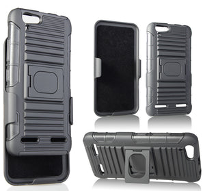 BLACK GRIP RING CASE COVER + BELT CLIP HOLSTER STAND FOR LENOVO VIBE K5, K5 PLUS