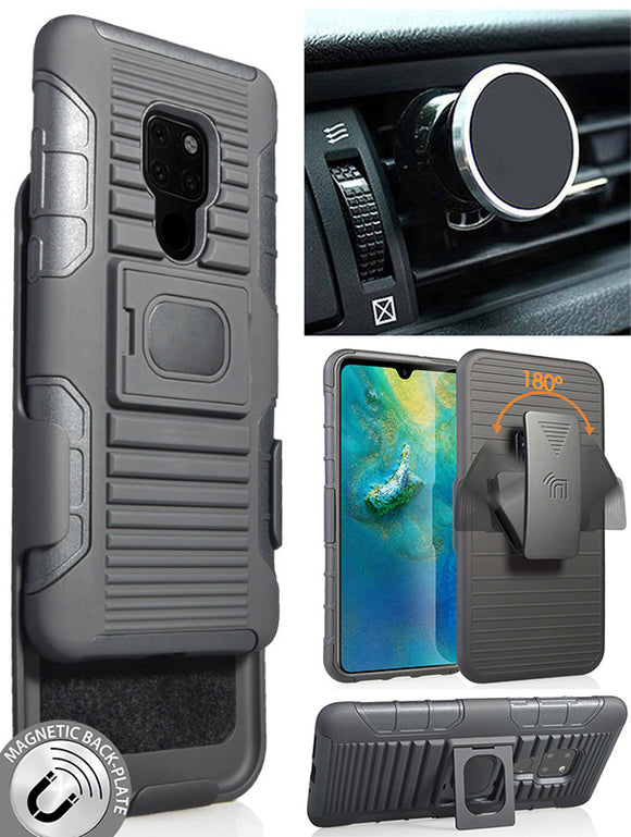 Black Rugged Case + Belt Clip Holster + Magnetic Car Mount for Huawei Mate 20