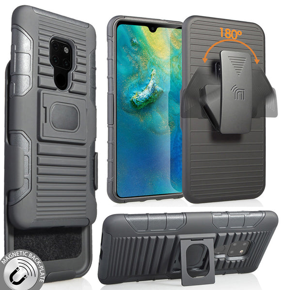 Black Magnet Grip Case Rugged Cover Stand + Belt Clip Holster for Huawei Mate 20