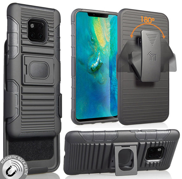 Black Magnet Grip Case Rugged Cover + Belt Clip Holster for Huawei Mate 20 Pro