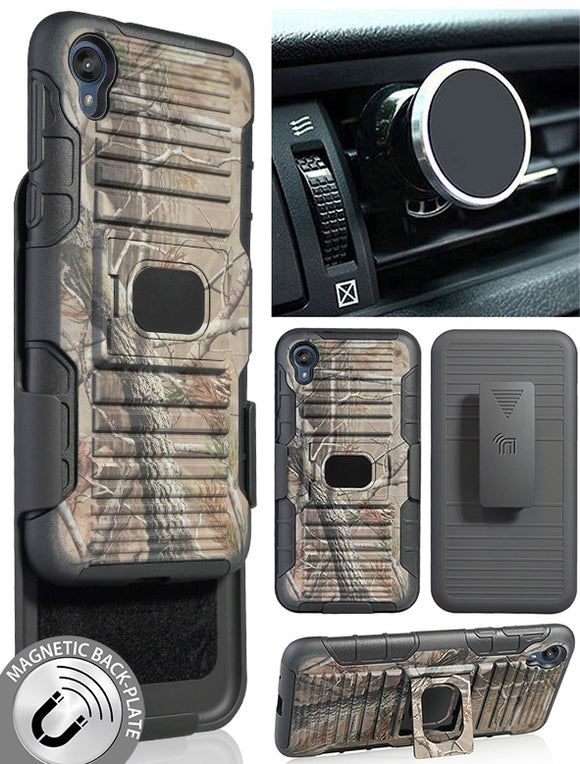 Camo Tree Real Woods Case + Belt Clip + Magnetic Car Mount for Motorola Moto E6