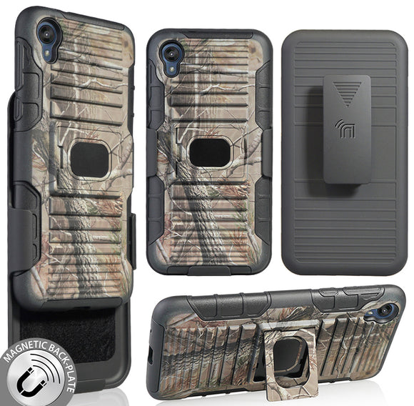 Camo Tree Leaf Real Woods Rugged Case + Belt Clip Holster for Motorola Moto E6