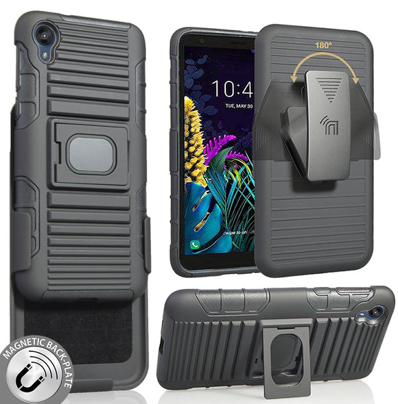 Black Rugged Grip Case with Ring Stand + Belt Clip Holster for Motorola Moto E6
