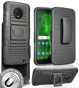 Black Ring Grip Case + Belt Clip Holster Stand for Motorola Moto G6 Plus XT1926