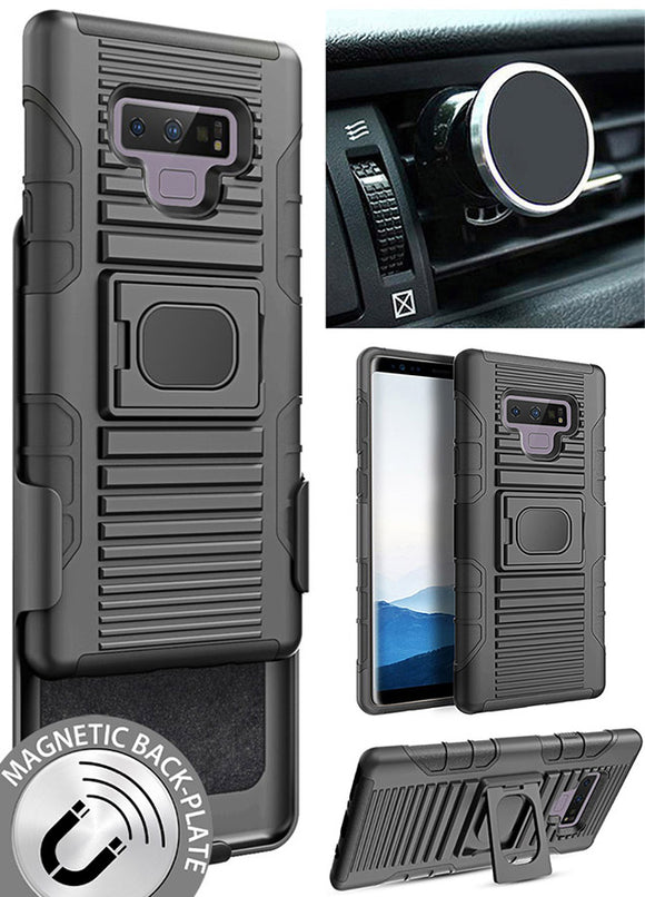 Black Case + Belt Clip Holster + Magnetic Car Mount for Samsung Galaxy Note 9