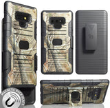 Camo Tree Real Woods Case + Belt Clip Holster Stand for Samsung Galaxy Note 9