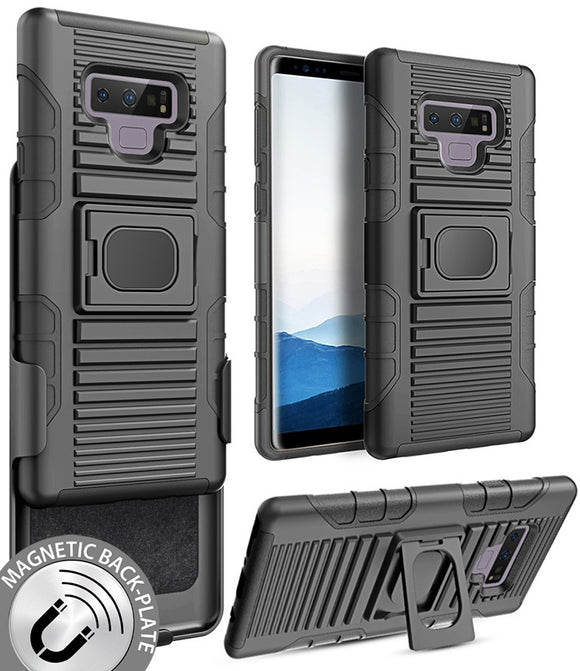 Black Magnet Grip Case Cover + Belt Clip Holster Stand for Samsung Galaxy Note 9