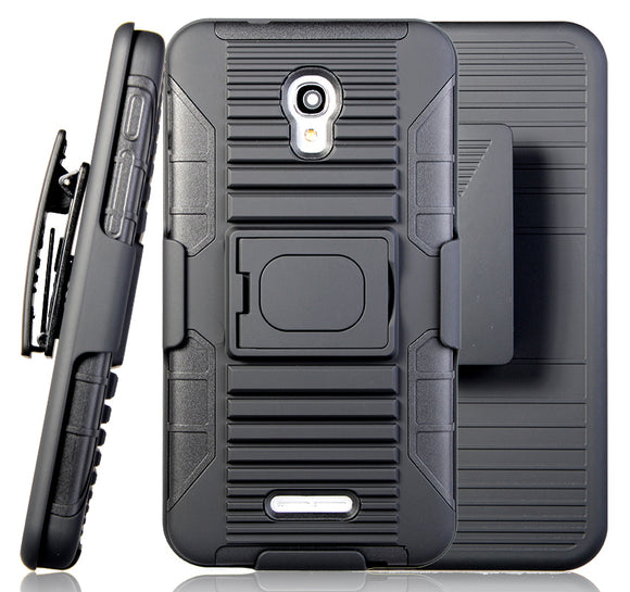 BLACK GRIP CASE COVER + BELT CLIP HOLSTER STAND FOR ALCATEL FIERCE 4, ALLURA