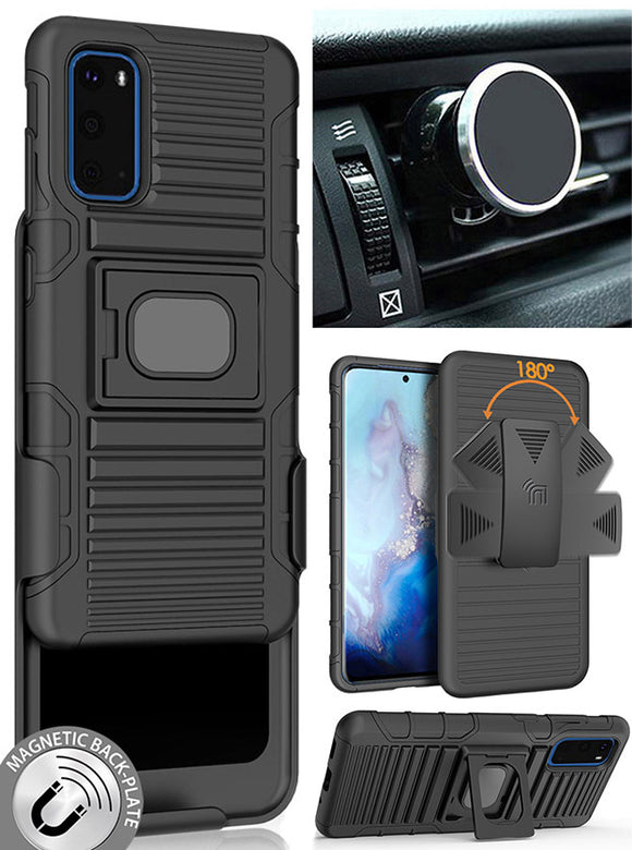 Black Rugged Case with Belt Clip and Magnetic Car Mount for Samsung Galaxy S20