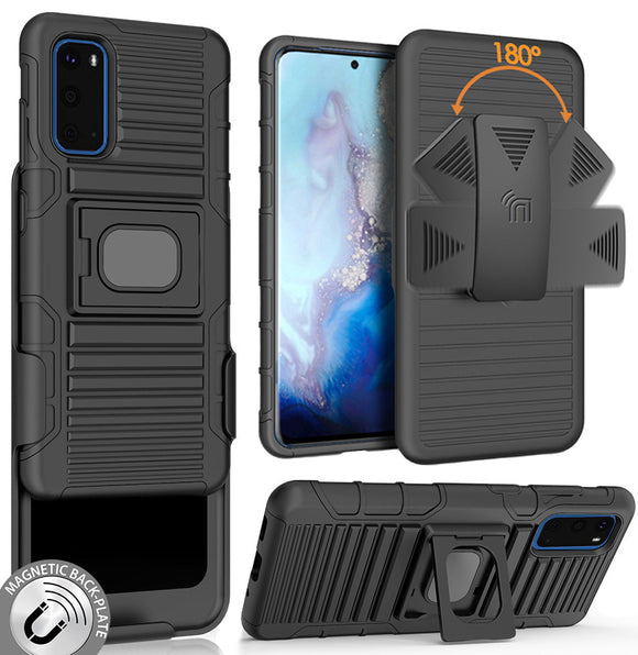 Black Rugged Grip Case with Stand and Belt Clip Holster for Samsung Galaxy S20