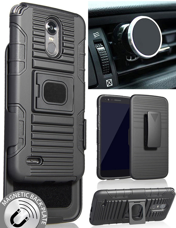 BLACK CASE + BELT CLIP HOLSTER + MAGNETIC CAR MOUNT FOR LG STYLO 3 STYLUS-3