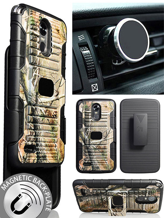 CAMO TREE CASE + BELT CLIP HOLSTER + MAGNETIC CAR MOUNT FOR LG STYLO 3, STYLUS-3