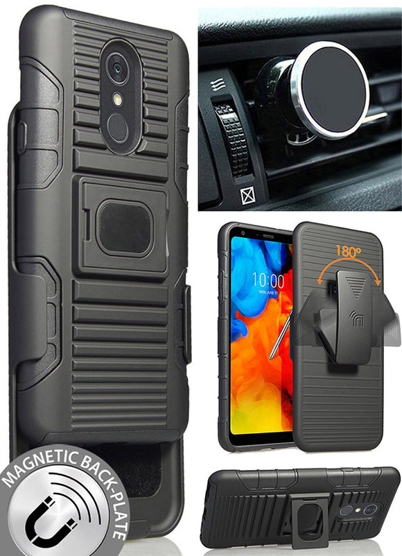 Black Grip Case + Belt Clip Holster + Magnetic Car Mount for LG Stylo 4 Q Stylus