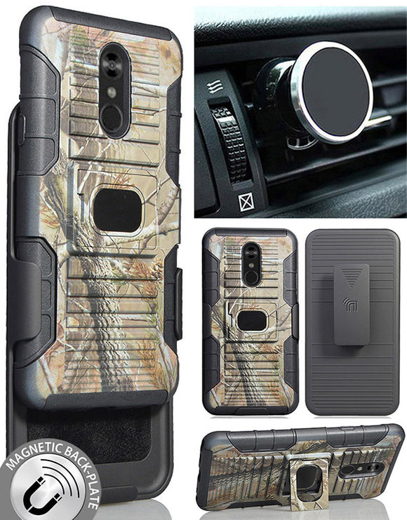 Camo Tree Real Woods Rugged Case + Belt Clip + Magnetic Car Mount for LG Stylo 5