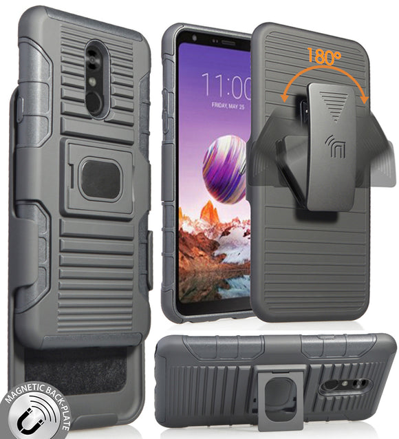 Black Rugged Grip Case Cover Stand + Belt Clip Holster Holder for LG Stylo 5