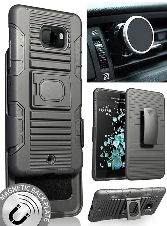 Black Grip Case Cover + Belt Clip Holster + Magnetic Car Mount for HTC U Ultra