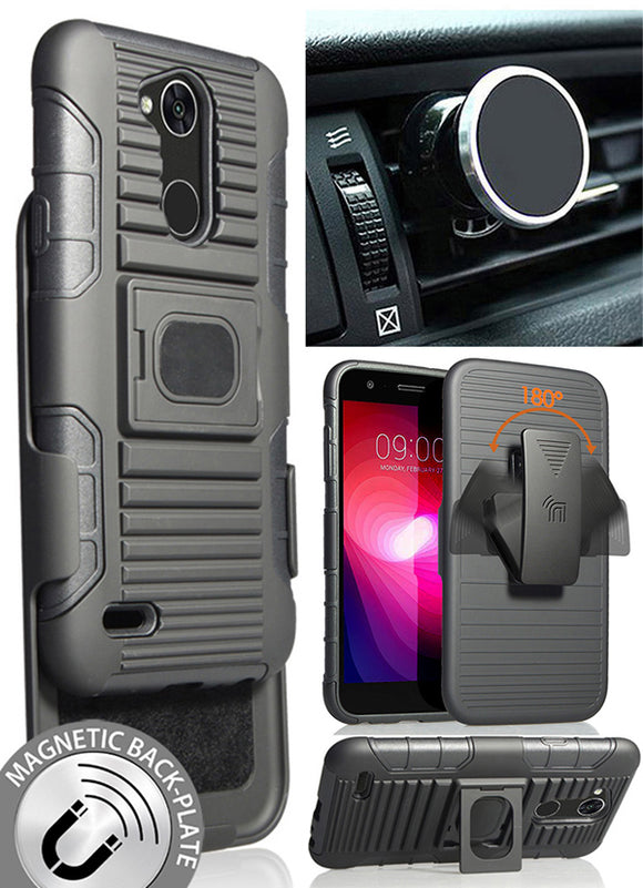 Black Grip Case + Belt Clip Holster + Magnetic Car Mount for LG X Power 3 (2018)