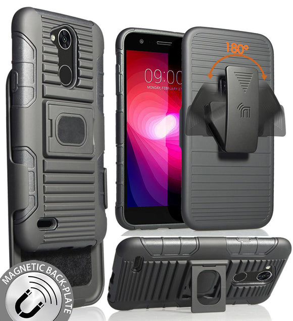 Black Magnet Grip Case Cover + Belt Clip Holster Stand for LG X Power 3 (2018)