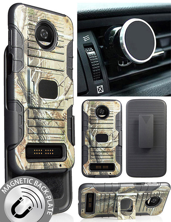 Camo Tree Real Woods Case + Belt Clip + Magnet Car Mount for Moto Z3, Z3 Play