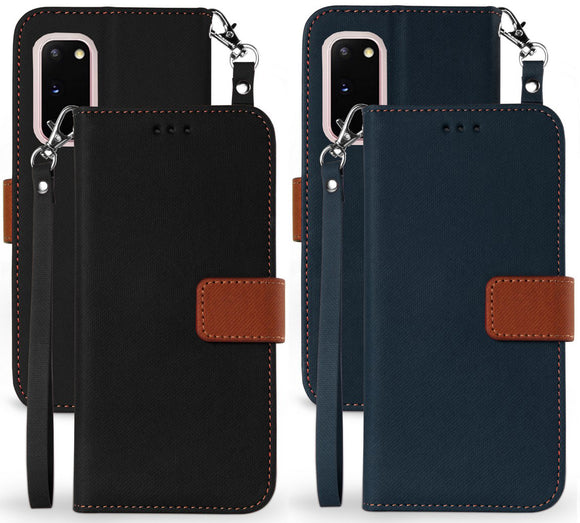 Durable Secure Wallet Case Credit Card Slot Cover Strap for Samsung Galaxy S20