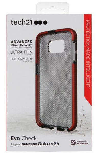 Tech21 RED SMOKE EVO CHECK ANTI-SHOCK CASE TPU COVER FOR SAMSUNG GALAXY S6