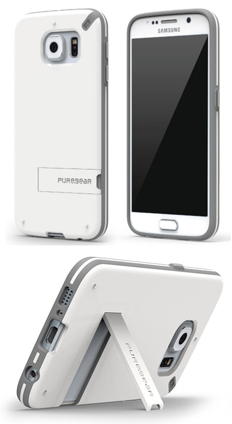 PUREGEAR SLIMSHELL WHITE GLOSS HARD CASE COVER KICKSTAND FOR SAMSUNG GALAXY S6