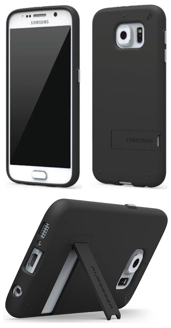PUREGEAR BLACK SLIMSHELL RUBBERIZED CASE COVER KICKSTAND FOR SAMSUNG GALAXY S6