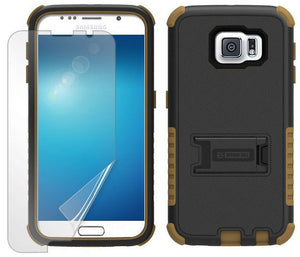 BROWN RUGGED TRI-SHIELD RUBBER SKIN HARD CASE COVER STAND FOR SAMSUNG GALAXY S6