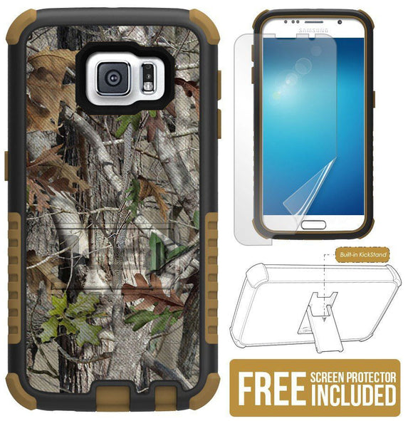 AUTUMN WOODS TREE CAMO TRI-SHIELD RUGGED CASE COVER STAND FOR SAMSUNG GALAXY S6
