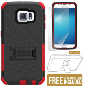 RED RUGGED TRI-SHIELD RUBBER SKIN HARD CASE COVER STAND FOR SAMSUNG GALAXY S6