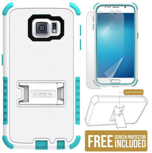 WHITE TURQUOISE RUGGED TRI-SHIELD HARD CASE COVER STAND FOR SAMSUNG GALAXY S6