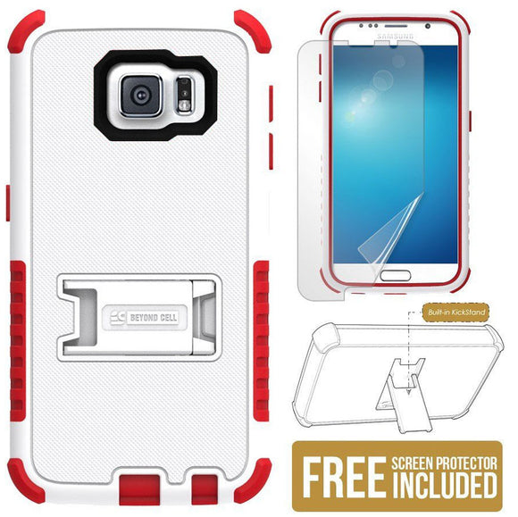 WHITE RED RUGGED TRI-SHIELD SKIN HARD CASE COVER STAND FOR SAMSUNG GALAXY S6