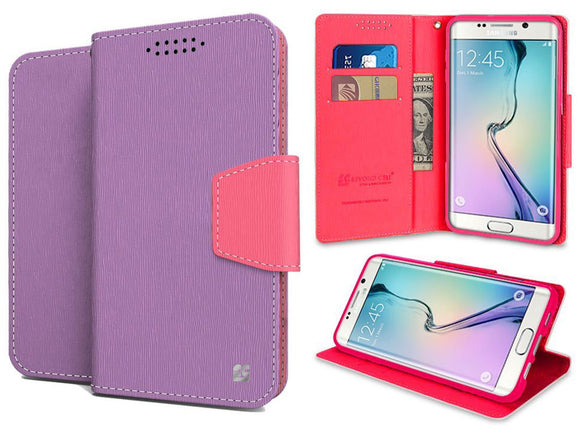 PURPLE/PINK INFOLIO WALLET CREDIT CARD ID CASE FOR SAMSUNG GALAXY S6 EDGE PLUS +
