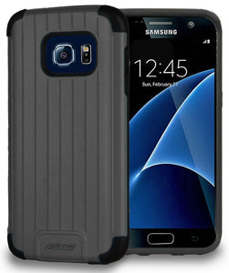 BLACK MATTE METALLIC SLIM DUO-SHIELD CASE RUGGED COVER FOR SAMSUNG GALAXY S7
