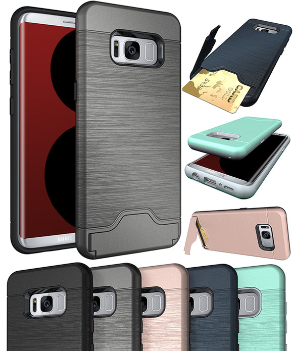 CREDIT CARD WALLET SLOT KICKSTAND CASE COVER FOR SAMSUNG GALAXY S8 PLUS, S8+