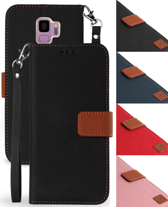 MAGNETIC FLAP WALLET CASE STAND + WRIST STRAP LANYARD FOR SAMSUNG GALAXY S9