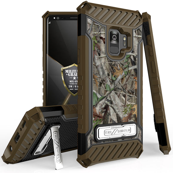 AUTUMN CAMO TREE REAL WOODS RUGGED CASE COVER STAND STRAP FOR SAMSUNG GALAXY S9