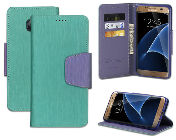 MINT PURPLE INFOLIO WALLET CREDIT CARD ID CASE STAND FOR SAMSUNG GALAXY S7 EDGE