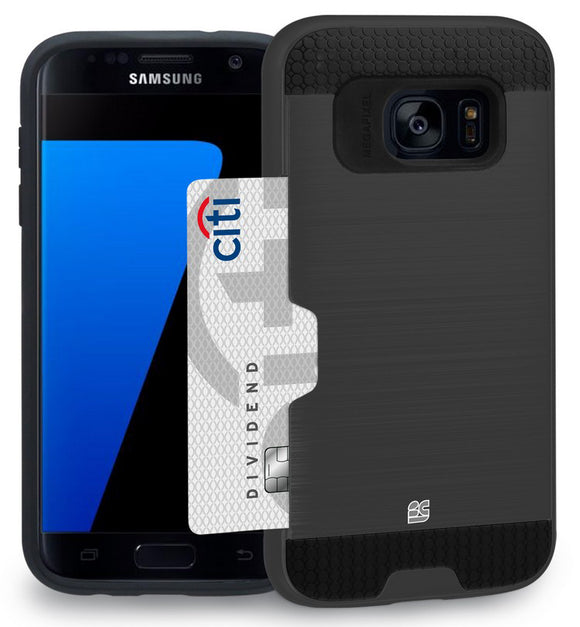 BLACK RUGGED TPU HARD CASE CREDIT CARD WALLET SLOT FOR SAMSUNG GALAXY S7 EDGE