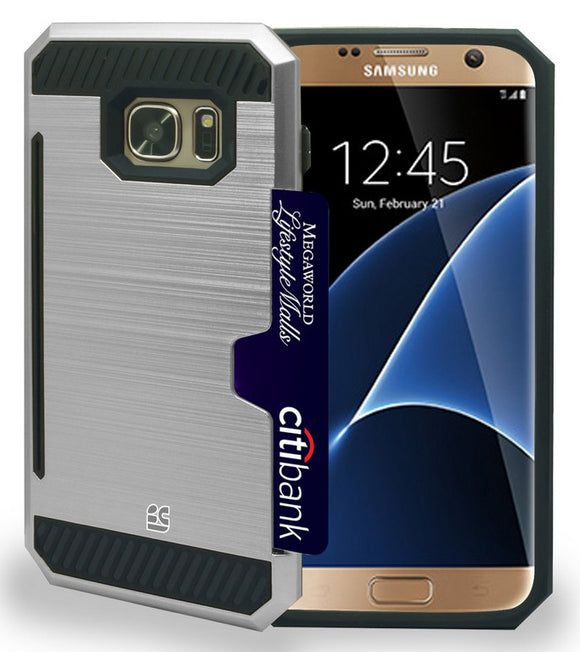 SILVER RUGGED TPU HARD CASE CREDIT CARD SLOT STAND FOR SAMSUNG GALAXY S7 EDGE
